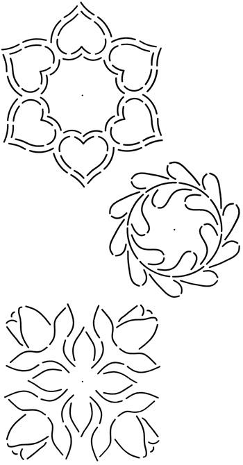 6 Feather Design Quilting Stencil